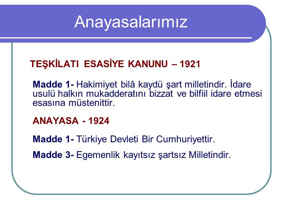 1924 Anayasasında Yapılan Değişiklikler Madde 2- 10/4/1928 tarihinde yapılan değişiklik öncesi: Türkiye Devletinin dini, dinî İslâmdır: Resmi dili Türkçedir; makkarı Ankara şehridir. değişiklik sonrası: Madde 2- Türkiye Devleti Cumhuriyetçi, Milliyetçi, Halkçı, Devletçi Laik ve Devrimcidir.