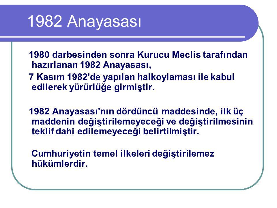 1982 Anayasası 1980 darbesinden sonra Kurucu Meclis tarafından hazırlanan 1982 Anayasası, 7 Kasım 1982'de yapılan halkoylaması ile kabul edilerek yürü