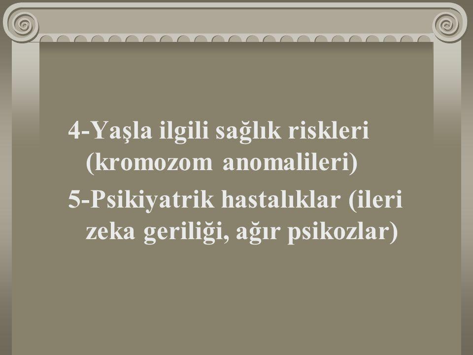 4-Yaşla ilgili sağlık riskleri (kromozom anomalileri) 5-Psikiyatrik hastalıklar (ileri zeka geriliği, ağır psikozlar)