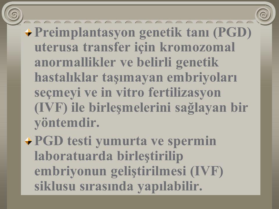 Preimplantasyon genetik tanı (PGD) uterusa transfer için kromozomal anormallikler ve belirli genetik hastalıklar taşımayan embriyoları seçmeyi ve in v