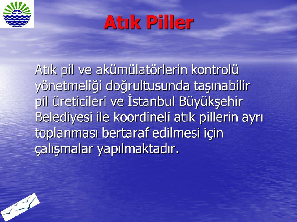 Atık Piller Atık pil ve akümülatörlerin kontrolü yönetmeliği doğrultusunda taşınabilir pil üreticileri ve İstanbul Büyükşehir Belediyesi ile koordinel