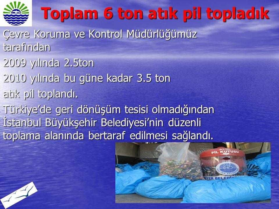 Toplam 6 ton atık pil topladık Çevre Koruma ve Kontrol Müdürlüğümüz tarafından 2009 yılında 2.5ton 2010 yılında bu güne kadar 3.5 ton atık pil topland