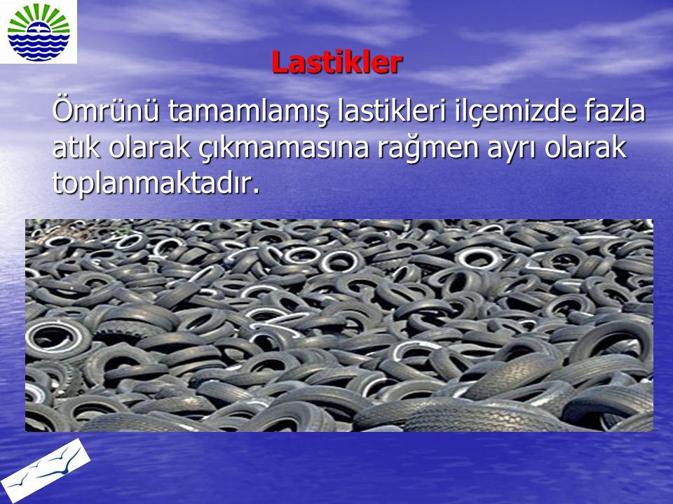 Ömrünü tamamlamış lastikleri ilçemizde fazla atık olarak çıkmamasına rağmen ayrı olarak toplanmaktadır. Lastikler