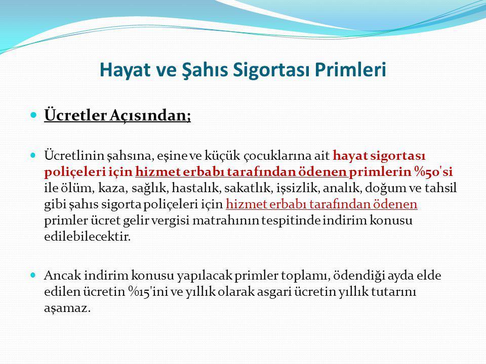 Hayat ve Şahıs Sigortası Primleri Yıllık Beyanname Açısından; Gelir Vergisi Kanununun 89.