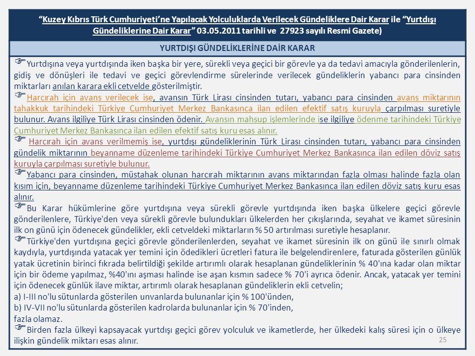 """""""Kuzey Kıbrıs Türk Cumhuriyeti'ne Yapılacak Yolculuklarda Verilecek Gündeliklere Dair Karar ile """"Yurtdışı Gündeliklerine Dair Karar"""" 03.05.2011 tarihl"""