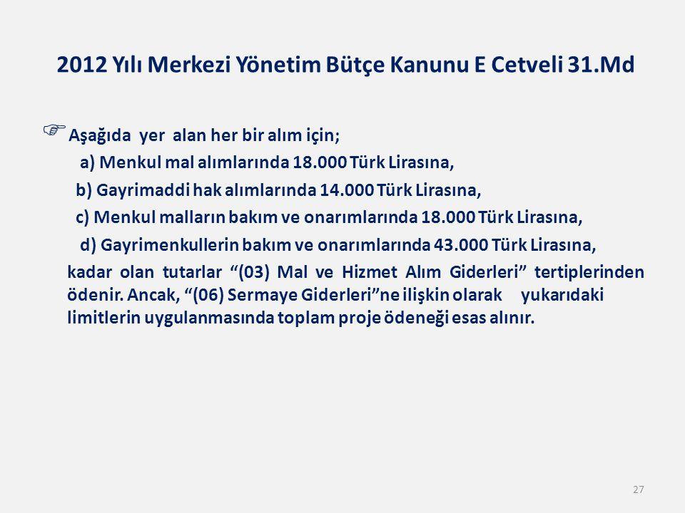 2012 Yılı Merkezi Yönetim Bütçe Kanunu E Cetveli 31.Md  Aşağıda yer alan her bir alım için; a) Menkul mal alımlarında 18.000 Türk Lirasına, b) Gayrim