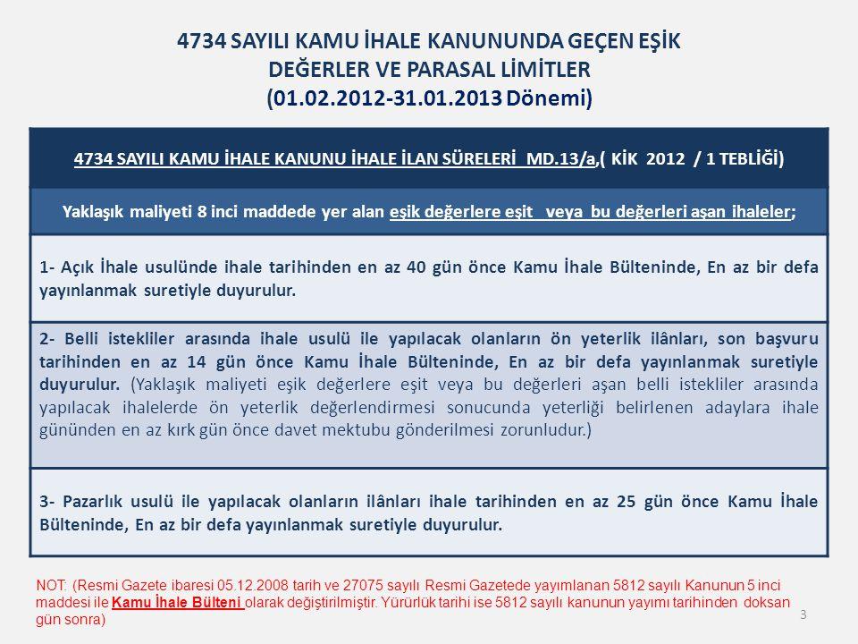 4734 SAYILI KAMU İHALE KANUNU İHALE İLAN SÜRELERİ MD.13/a,( KİK 2012 / 1 TEBLİĞİ) Yaklaşık maliyeti 8 inci maddede yer alan eşik değerlere eşit veya b
