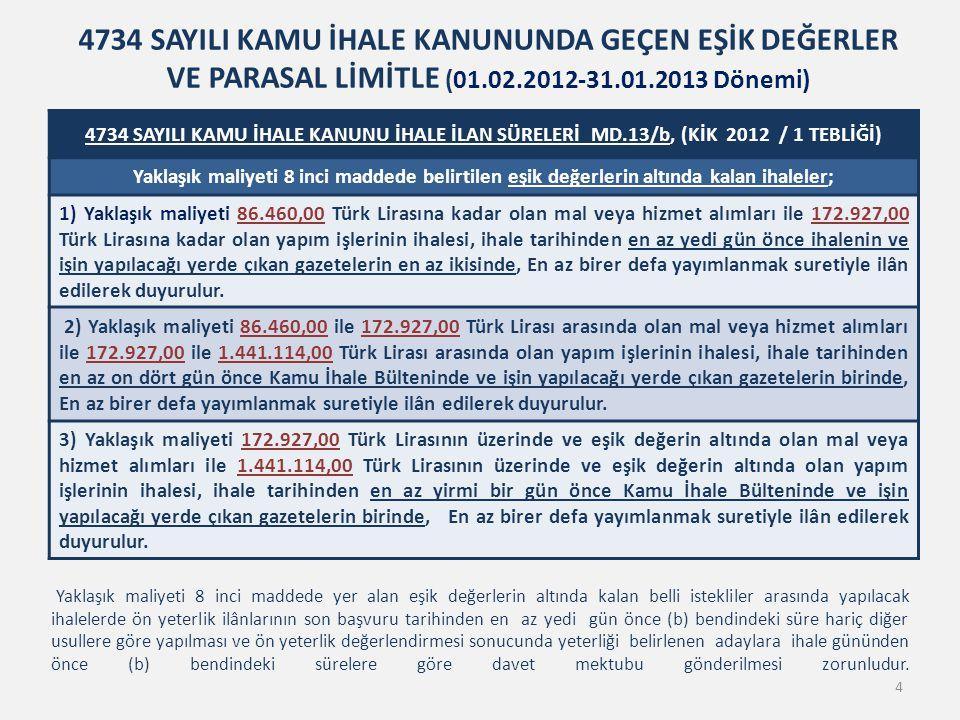4734 SAYILI KAMU İHALE KANUNU İHALE İLAN SÜRELERİ MD.13/b, (KİK 2012 / 1 TEBLİĞİ) Yaklaşık maliyeti 8 inci maddede belirtilen eşik değerlerin altında