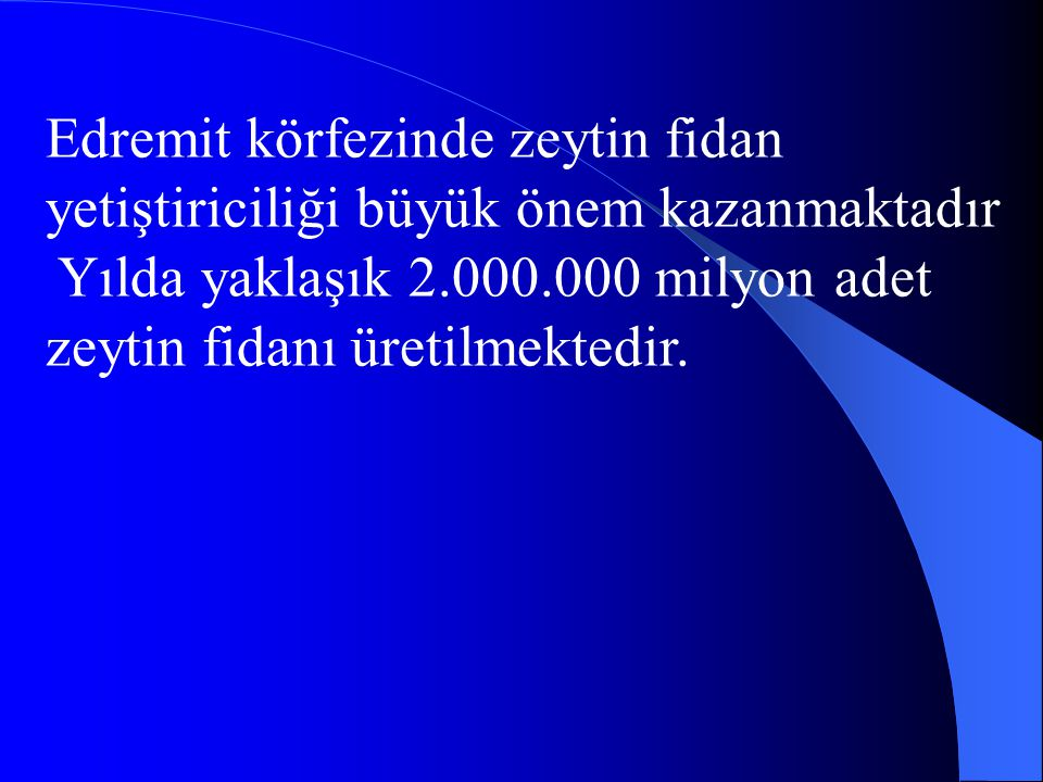 Edremit körfezinde zeytin fidan yetiştiriciliği büyük önem kazanmaktadır Yılda yaklaşık 2.000.000 milyon adet zeytin fidanı üretilmektedir.