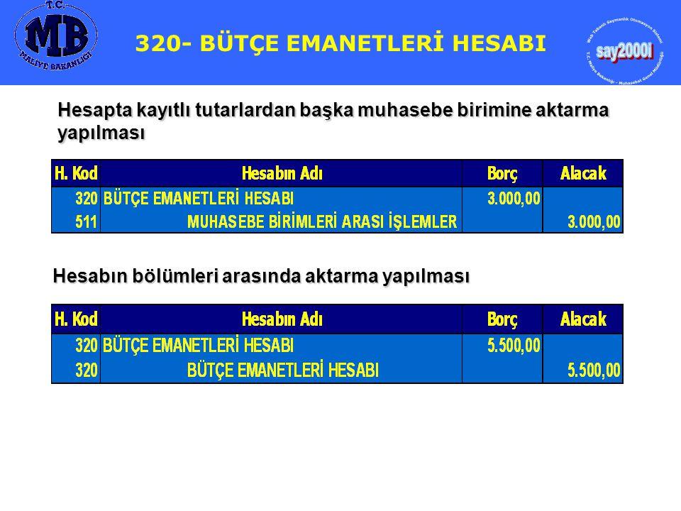 323- BÜTÇELEŞTİRİLMİŞ BORÇLAR HESABI Çekin bankadan ödendiği hesap özetinden anlaşılmıştır 325- NAKİT TALEP VE TAHSİSLERİ HESABI