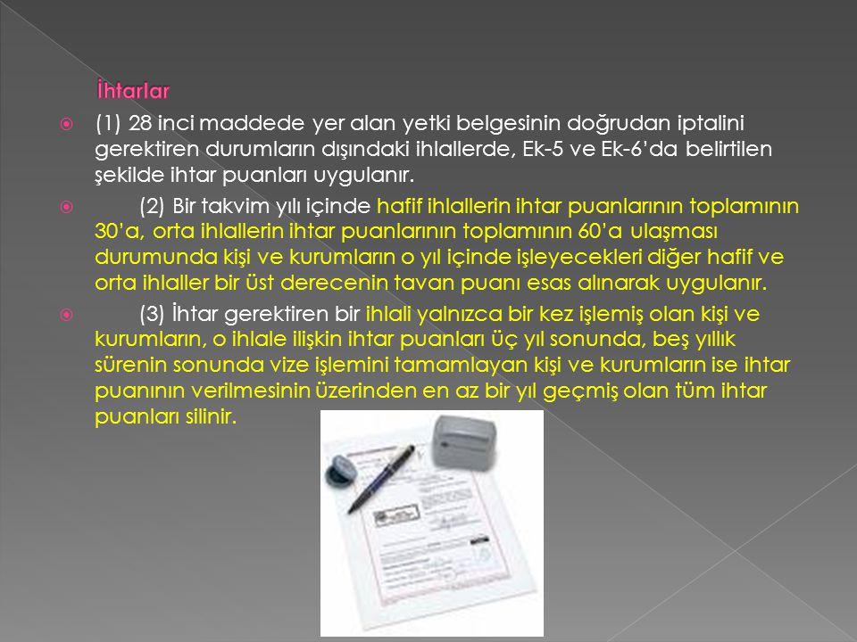  (1) 28 inci maddede yer alan yetki belgesinin doğrudan iptalini gerektiren durumların dışındaki ihlallerde, Ek-5 ve Ek-6'da belirtilen şekilde ihtar puanları uygulanır.