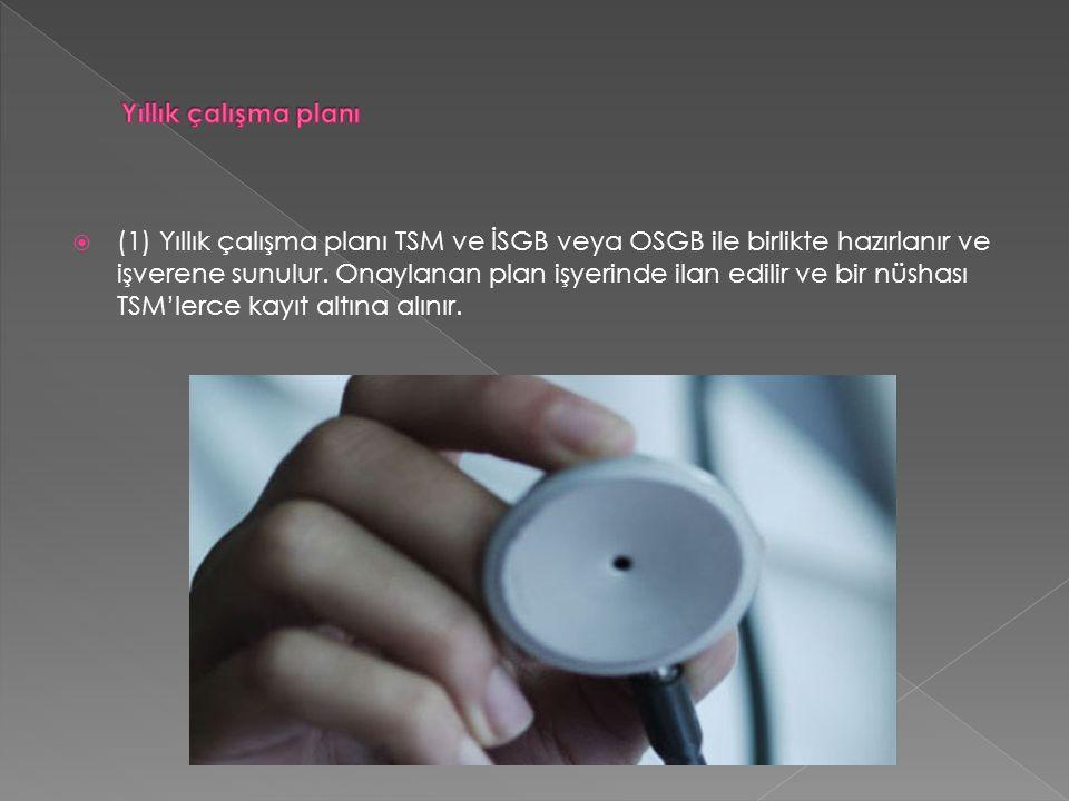  (1) Yıllık çalışma planı TSM ve İSGB veya OSGB ile birlikte hazırlanır ve işverene sunulur.