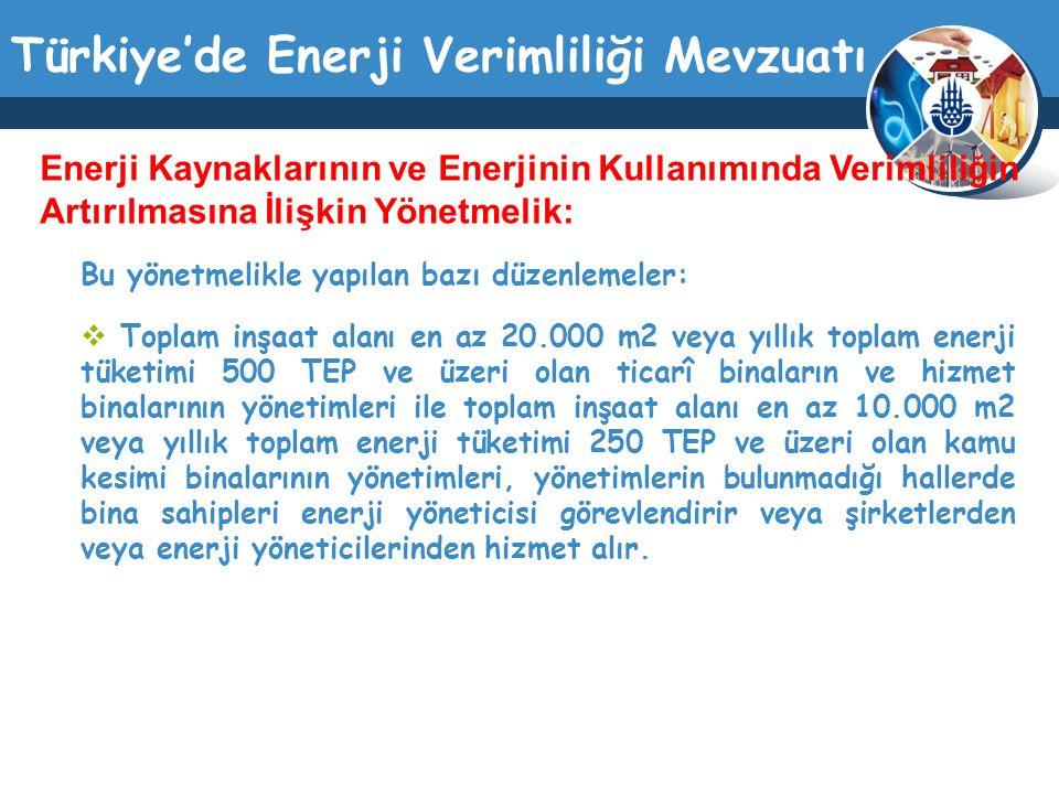 Türkiye'de Enerji Verimliliği Mevzuatı Bu yönetmelikle yapılan bazı düzenlemeler:  Toplam inşaat alanı en az 20.000 m2 veya yıllık toplam enerji tüke