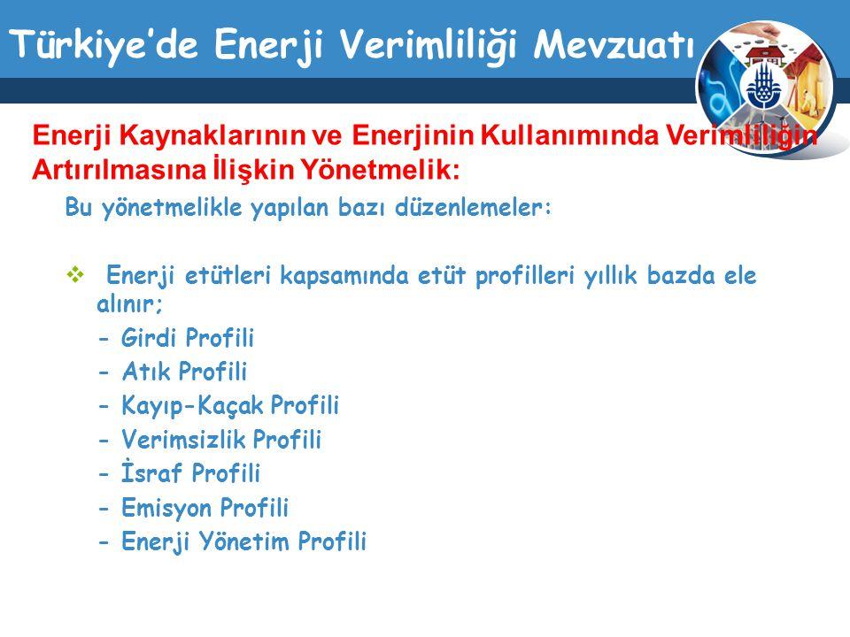Türkiye'de Enerji Verimliliği Mevzuatı Bu yönetmelikle yapılan bazı düzenlemeler:  Enerji etütleri kapsamında etüt profilleri yıllık bazda ele alınır