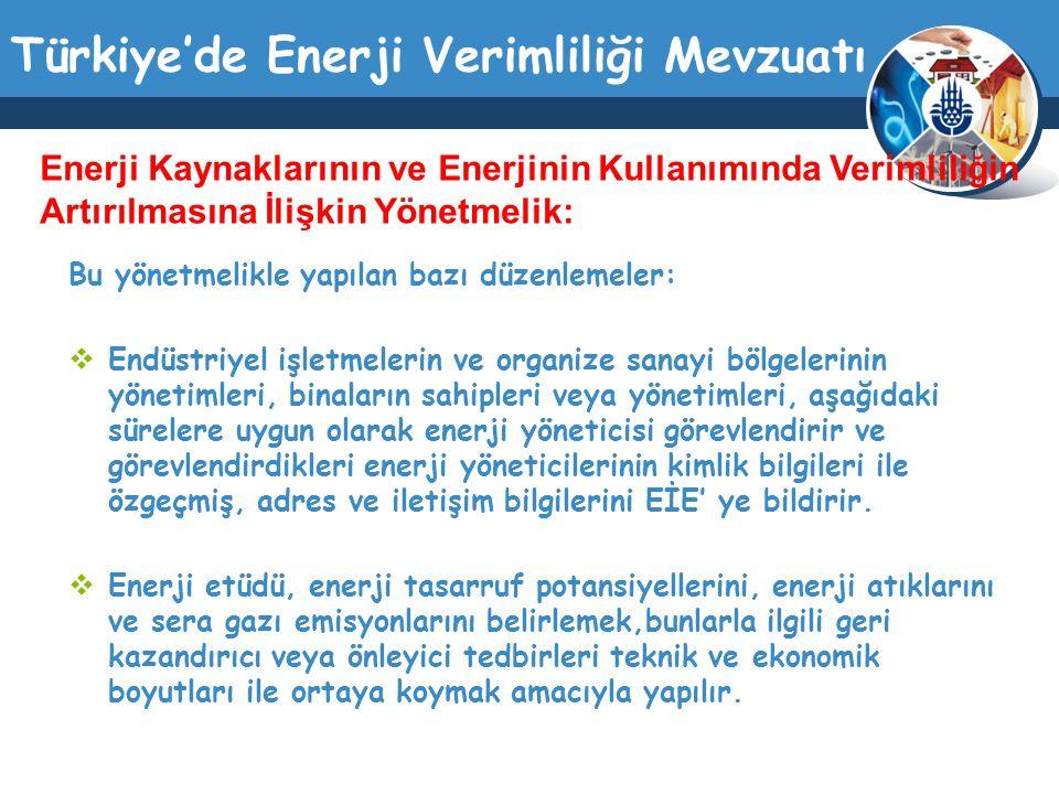 Türkiye'de Enerji Verimliliği Mevzuatı Bu yönetmelikle yapılan bazı düzenlemeler:  Endüstriyel işletmelerin ve organize sanayi bölgelerinin yönetimle