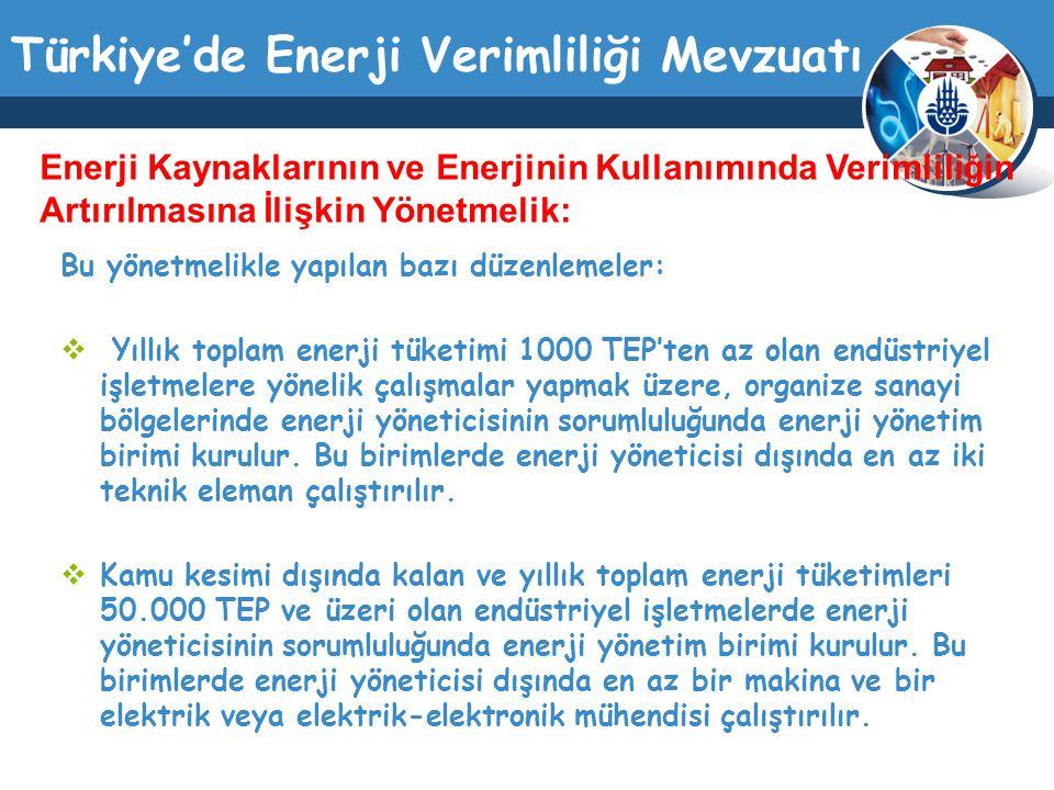 Türkiye'de Enerji Verimliliği Mevzuatı Bu yönetmelikle yapılan bazı düzenlemeler:  Yıllık toplam enerji tüketimi 1000 TEP'ten az olan endüstriyel işl