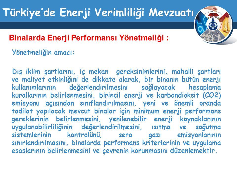 Türkiye'de Enerji Verimliliği Mevzuatı Yönetmeliğin amacı: Dış iklim şartlarını, iç mekan gereksinimlerini, mahalli şartları ve maliyet etkinliğini de