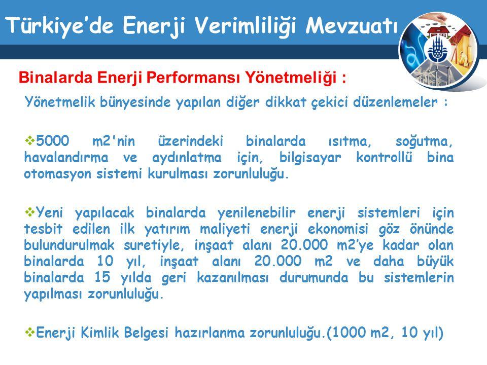 Türkiye'de Enerji Verimliliği Mevzuatı Yönetmelik bünyesinde yapılan diğer dikkat çekici düzenlemeler :  5000 m2'nin üzerindeki binalarda ısıtma, soğ