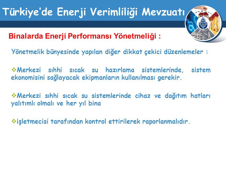 Türkiye'de Enerji Verimliliği Mevzuatı Yönetmelik bünyesinde yapılan diğer dikkat çekici düzenlemeler :  Merkezi sıhhi sıcak su hazırlama sistemlerin