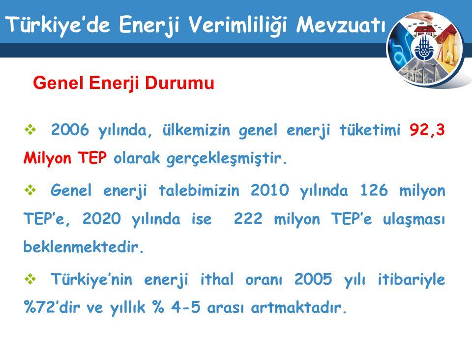 Türkiye'de Enerji Verimliliği Mevzuatı  2006 yılında, ülkemizin genel enerji tüketimi 92,3 Milyon TEP olarak gerçekleşmiştir.  Genel enerji talebimi