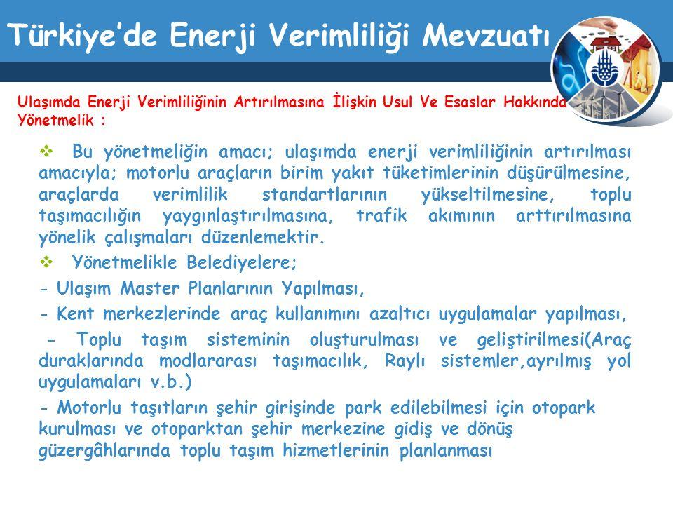 Türkiye'de Enerji Verimliliği Mevzuatı  Bu yönetmeliğin amacı; ulaşımda enerji verimliliğinin artırılması amacıyla; motorlu araçların birim yakıt tük