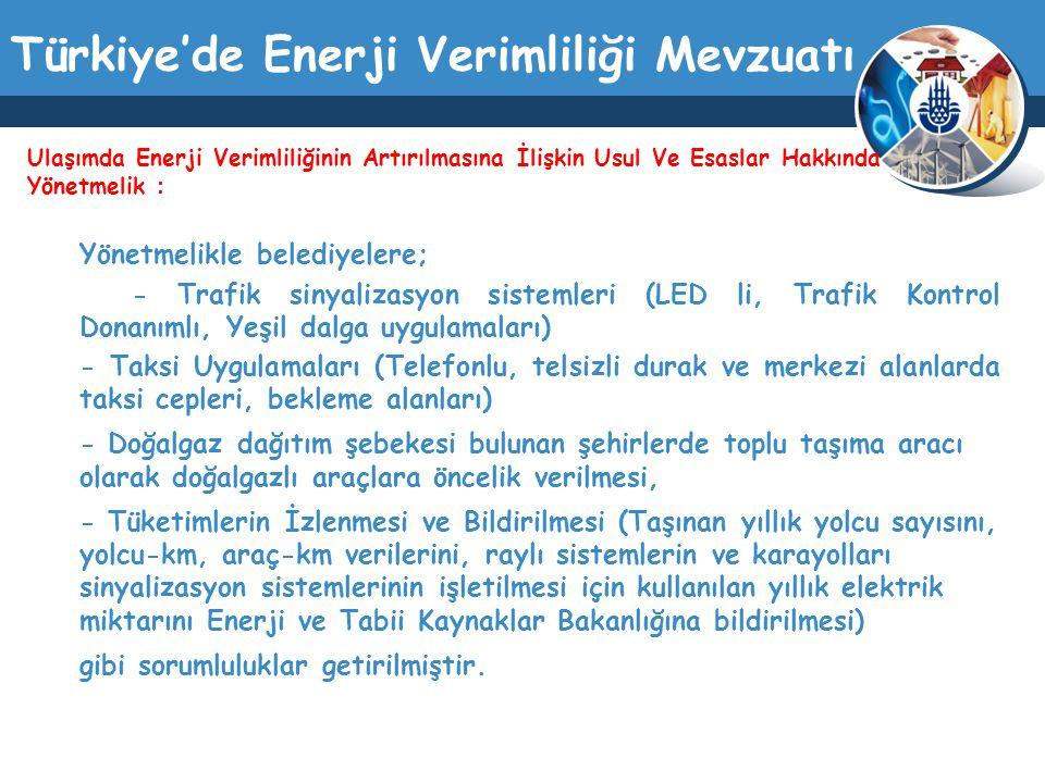 Türkiye'de Enerji Verimliliği Mevzuatı Yönetmelikle belediyelere; - Trafik sinyalizasyon sistemleri (LED li, Trafik Kontrol Donanımlı, Yeşil dalga uyg