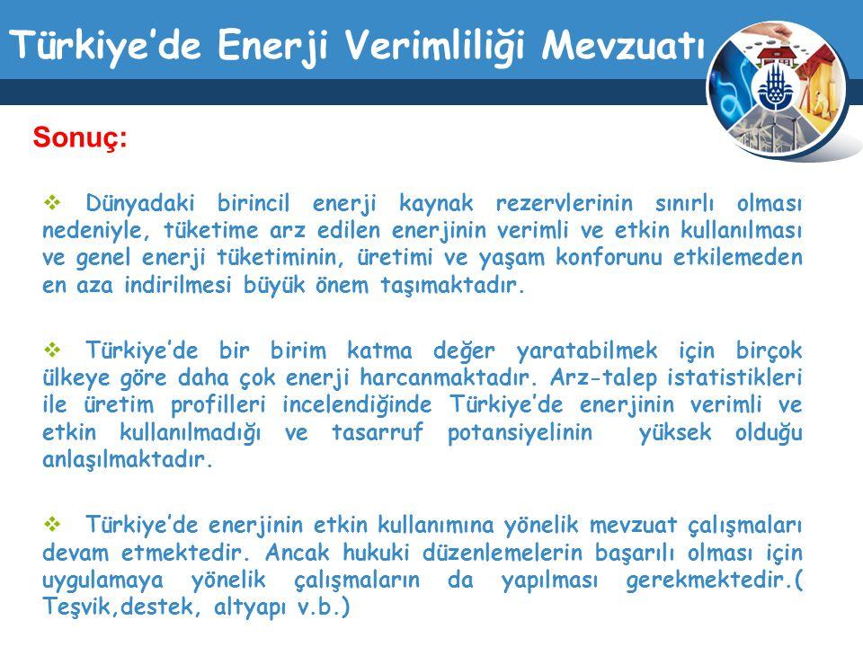 Türkiye'de Enerji Verimliliği Mevzuatı  Dünyadaki birincil enerji kaynak rezervlerinin sınırlı olması nedeniyle, tüketime arz edilen enerjinin veriml
