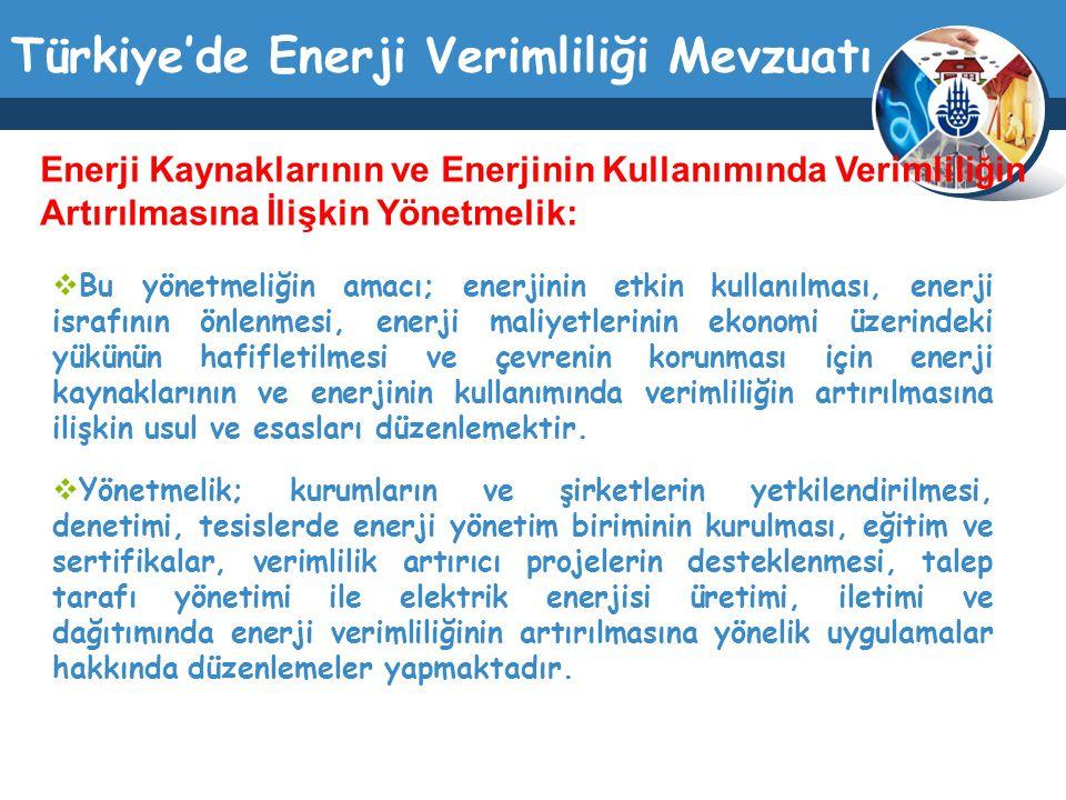 Türkiye'de Enerji Verimliliği Mevzuatı  Bu yönetmeliğin amacı; enerjinin etkin kullanılması, enerji israfının önlenmesi, enerji maliyetlerinin ekonom