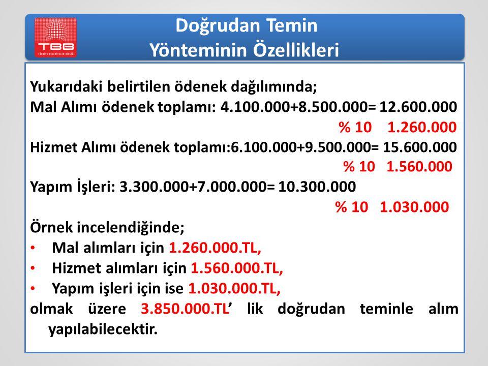 Yukarıdaki belirtilen ödenek dağılımında; Mal Alımı ödenek toplamı: 4.100.000+8.500.000= 12.600.000 % 10 1.260.000 Hizmet Alımı ödenek toplamı:6.100.000+9.500.000= 15.600.000 % 10 1.560.000 Yapım İşleri: 3.300.000+7.000.000= 10.300.000 % 10 1.030.000 Örnek incelendiğinde; Mal alımları için 1.260.000.TL, Hizmet alımları için 1.560.000.TL, Yapım işleri için ise 1.030.000.TL, olmak üzere 3.850.000.TL' lik doğrudan teminle alım yapılabilecektir.
