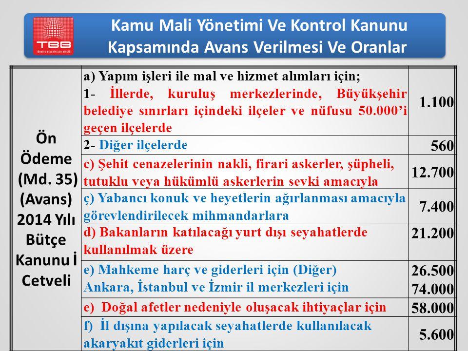 Kamu Mali Yönetimi Ve Kontrol Kanunu Kapsamında Avans Verilmesi Ve Oranlar Ön Ödeme (Md. 35) (Avans) 2014 Yılı Bütçe Kanunu İ Cetveli a) Yapım işleri