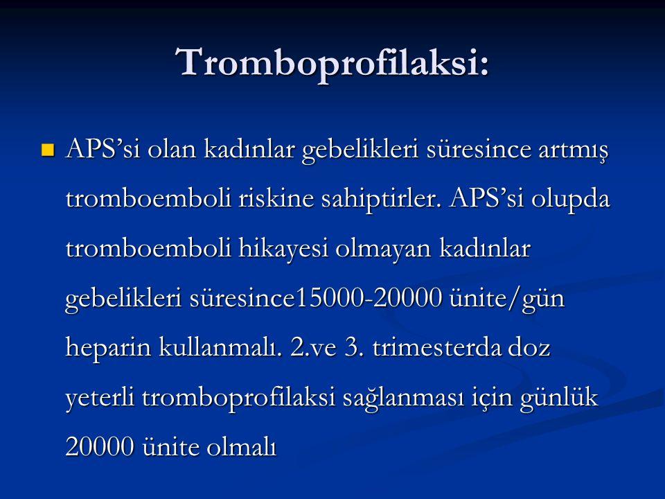 Tromboprofilaksi: APS'si olan kadınlar gebelikleri süresince artmış tromboemboli riskine sahiptirler. APS'si olupda tromboemboli hikayesi olmayan kadı