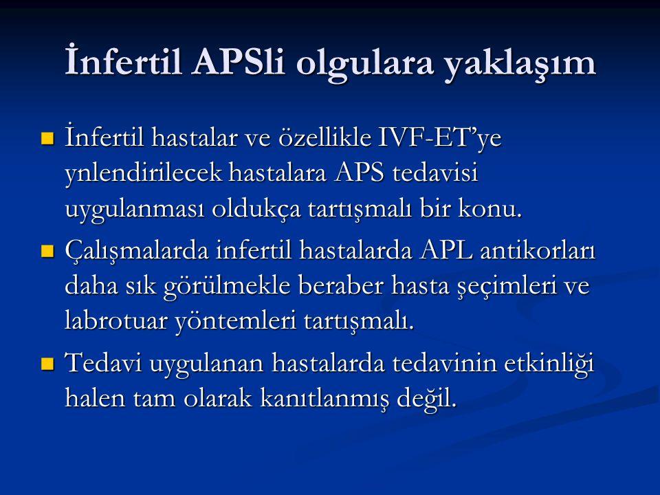 İnfertil APSli olgulara yaklaşım İnfertil hastalar ve özellikle IVF-ET'ye ynlendirilecek hastalara APS tedavisi uygulanması oldukça tartışmalı bir kon