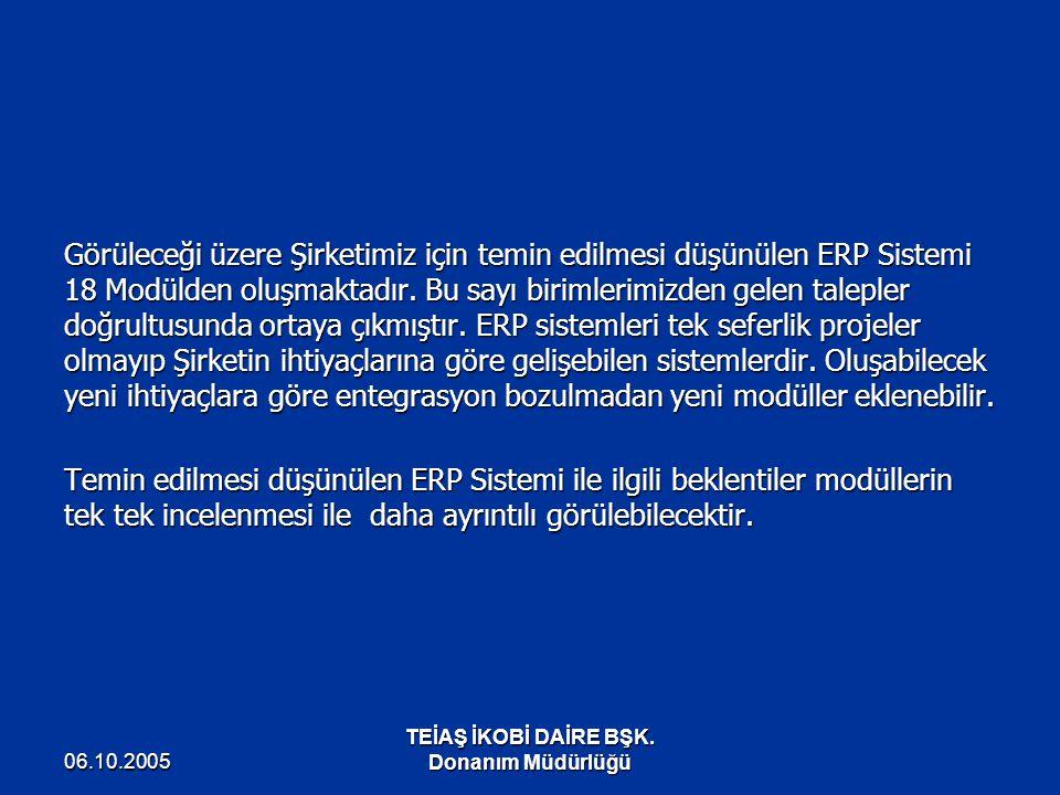06.10.2005 TEİAŞ İKOBİ DAİRE BŞK. Donanım Müdürlüğü Görüleceği üzere Şirketimiz için temin edilmesi düşünülen ERP Sistemi 18 Modülden oluşmaktadır. Bu