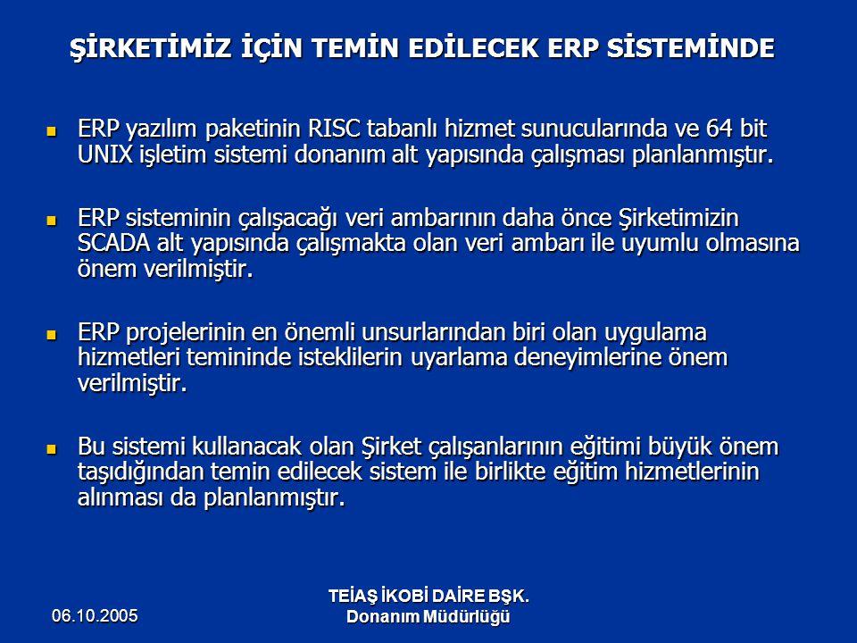 06.10.2005 TEİAŞ İKOBİ DAİRE BŞK. Donanım Müdürlüğü ŞİRKETİMİZ İÇİN TEMİN EDİLECEK ERP SİSTEMİNDE ERP yazılım paketinin RISC tabanlı hizmet sunucuları