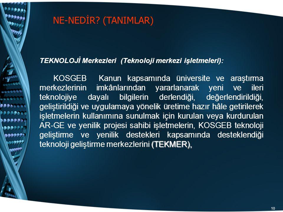 10 NE-NEDİR? (TANIMLAR) TEKNOLOJİ Merkezleri (Teknoloji merkezi işletmeleri): (TEKMER), KOSGEB Kanun kapsamında üniversite ve araştırma merkezlerinin