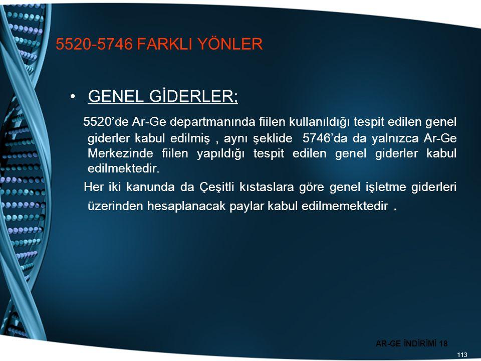 113 5520-5746 FARKLI YÖNLER GENEL GİDERLER; 5520'de Ar-Ge departmanında fiilen kullanıldığı tespit edilen genel giderler kabul edilmiş, aynı şeklide 5