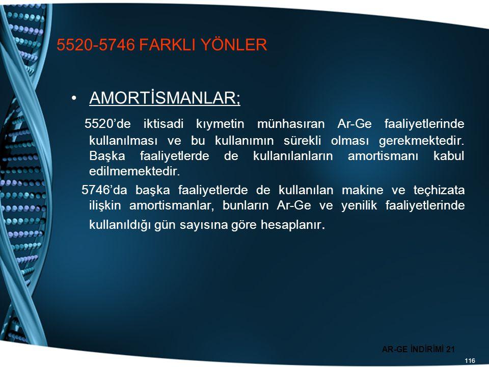 116 5520-5746 FARKLI YÖNLER AMORTİSMANLAR; 5520'de iktisadi kıymetin münhasıran Ar-Ge faaliyetlerinde kullanılması ve bu kullanımın sürekli olması ger