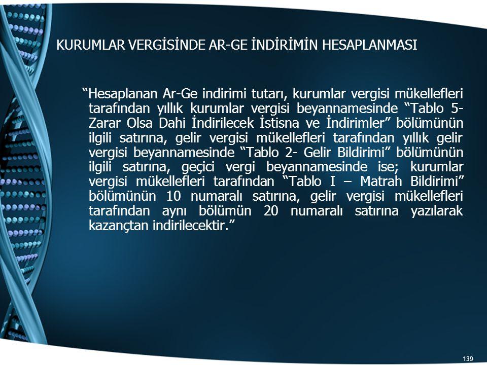 """139 KURUMLAR VERGİSİNDE AR-GE İNDİRİMİN HESAPLANMASI """"Hesaplanan Ar-Ge indirimi tutarı, kurumlar vergisi mükellefleri tarafından yıllık kurumlar vergi"""