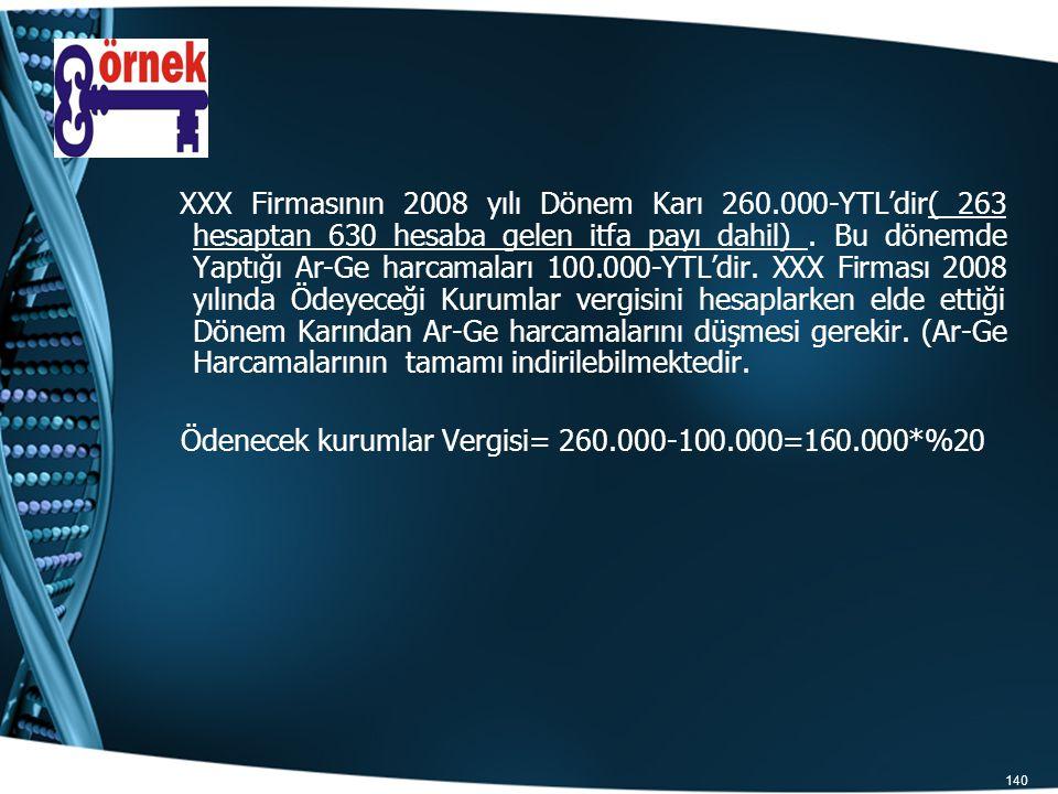 140 XXX Firmasının 2008 yılı Dönem Karı 260.000-YTL'dir( 263 hesaptan 630 hesaba gelen itfa payı dahil). Bu dönemde Yaptığı Ar-Ge harcamaları 100.000-