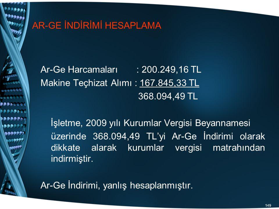 149 AR-GE İNDİRİMİ HESAPLAMA Ar-Ge Harcamaları : 200.249,16 TL Makine Teçhizat Alımı : 167.845,33 TL 368.094,49 TL İşletme, 2009 yılı Kurumlar Vergisi