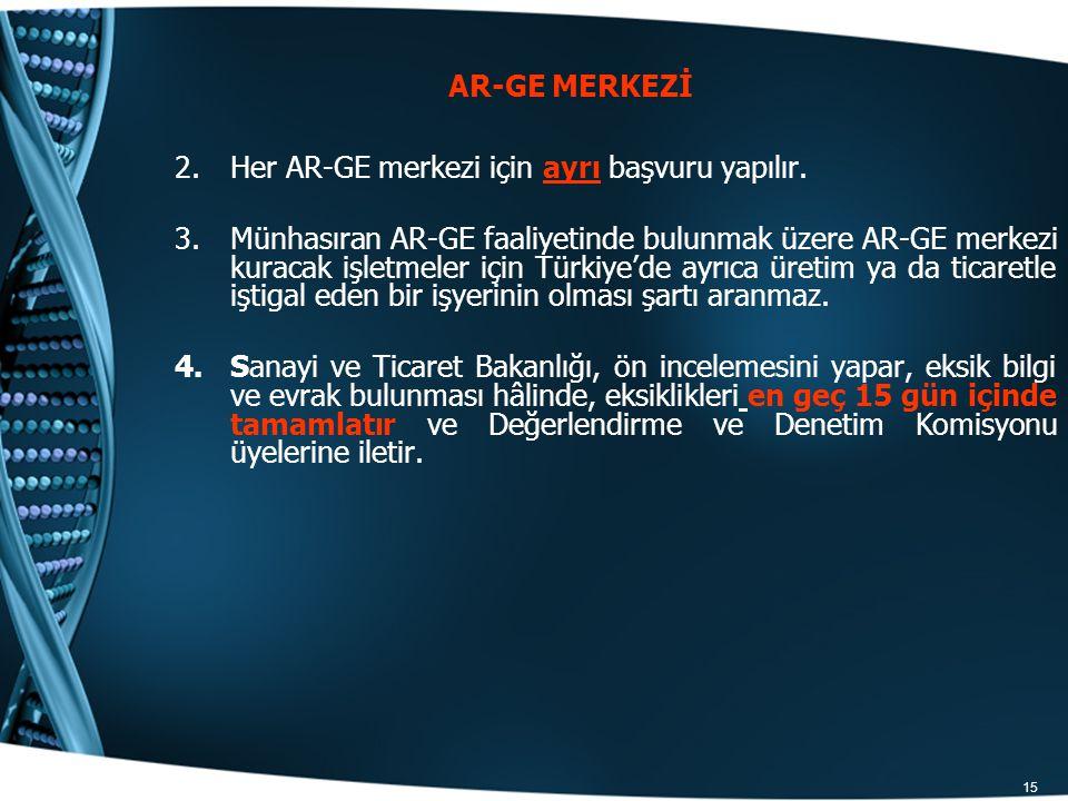 15 2.Her AR-GE merkezi için ayrı başvuru yapılır. 3.Münhasıran AR-GE faaliyetinde bulunmak üzere AR-GE merkezi kuracak işletmeler için Türkiye'de ayrı