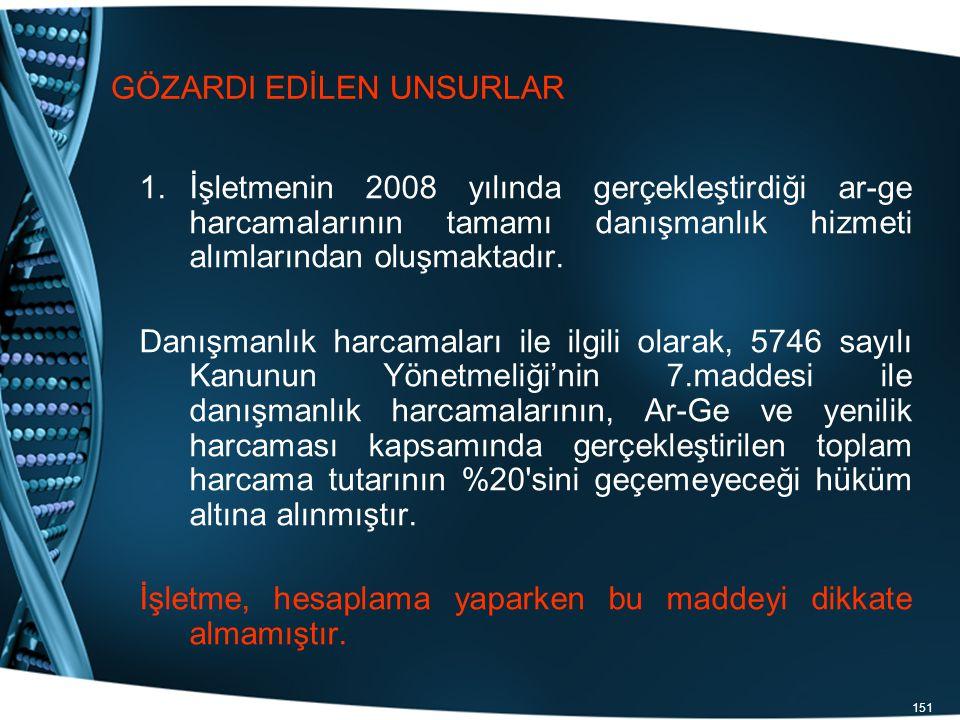 151 GÖZARDI EDİLEN UNSURLAR 1.İşletmenin 2008 yılında gerçekleştirdiği ar-ge harcamalarının tamamı danışmanlık hizmeti alımlarından oluşmaktadır. Danı