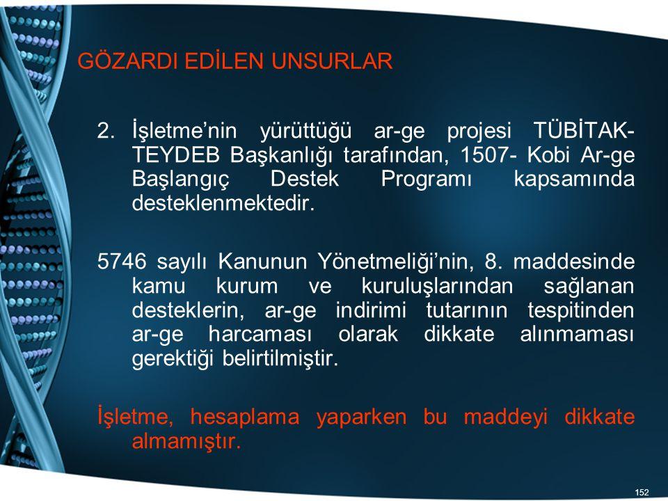 152 GÖZARDI EDİLEN UNSURLAR 2.İşletme'nin yürüttüğü ar-ge projesi TÜBİTAK- TEYDEB Başkanlığı tarafından, 1507- Kobi Ar-ge Başlangıç Destek Programı ka
