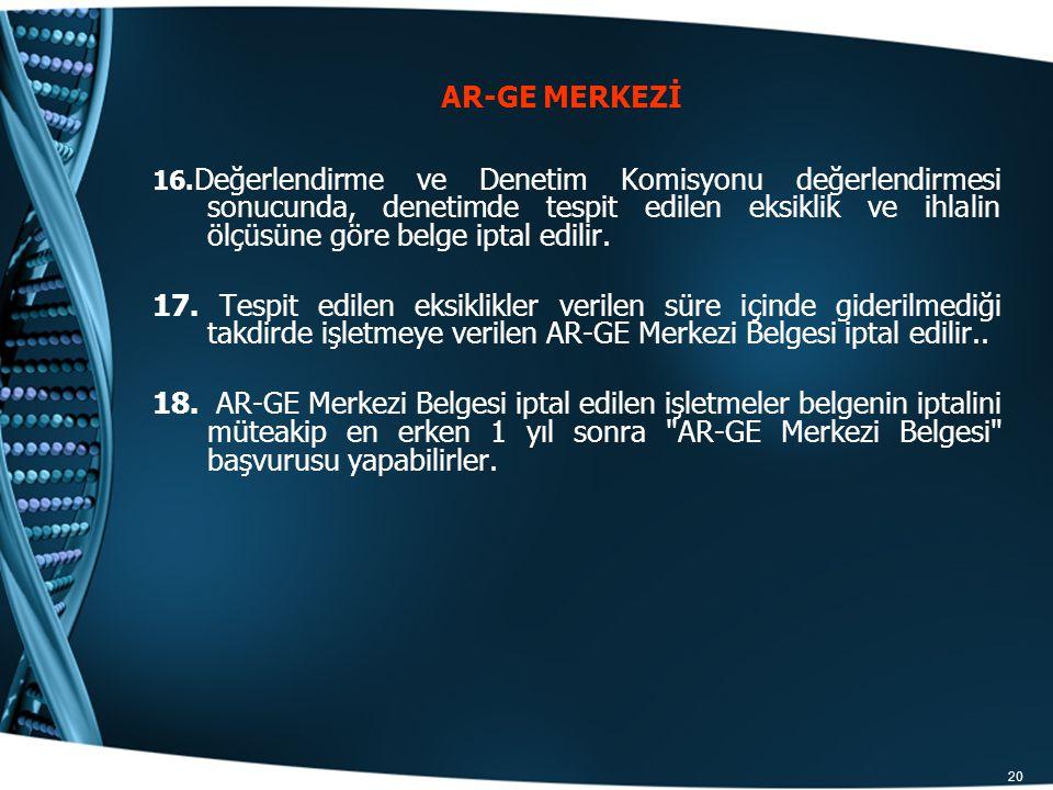 20 16. Değerlendirme ve Denetim Komisyonu değerlendirmesi sonucunda, denetimde tespit edilen eksiklik ve ihlalin ölçüsüne göre belge iptal edilir. 17.