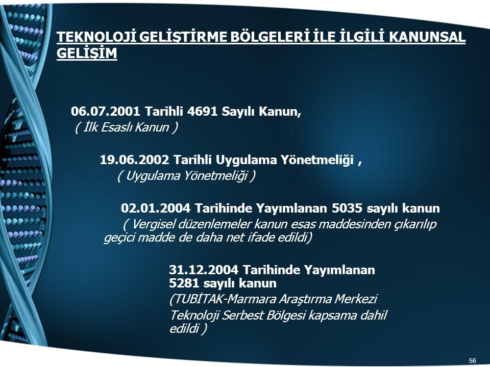 56 TEKNOLOJİ GELİŞTİRME BÖLGELERİ İLE İLGİLİ KANUNSAL GELİŞİM 06.07.2001 Tarihli 4691 Sayılı Kanun, ( İlk Esaslı Kanun ) 19.06.2002 Tarihli Uygulama Y