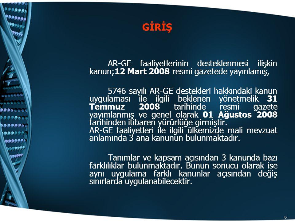 6 GİRİŞ AR-GE faaliyetlerinin desteklenmesi ilişkin kanun;12 Mart 2008 resmi gazetede yayınlamış, 5746 sayılı AR-GE destekleri hakkındaki kanun uygula
