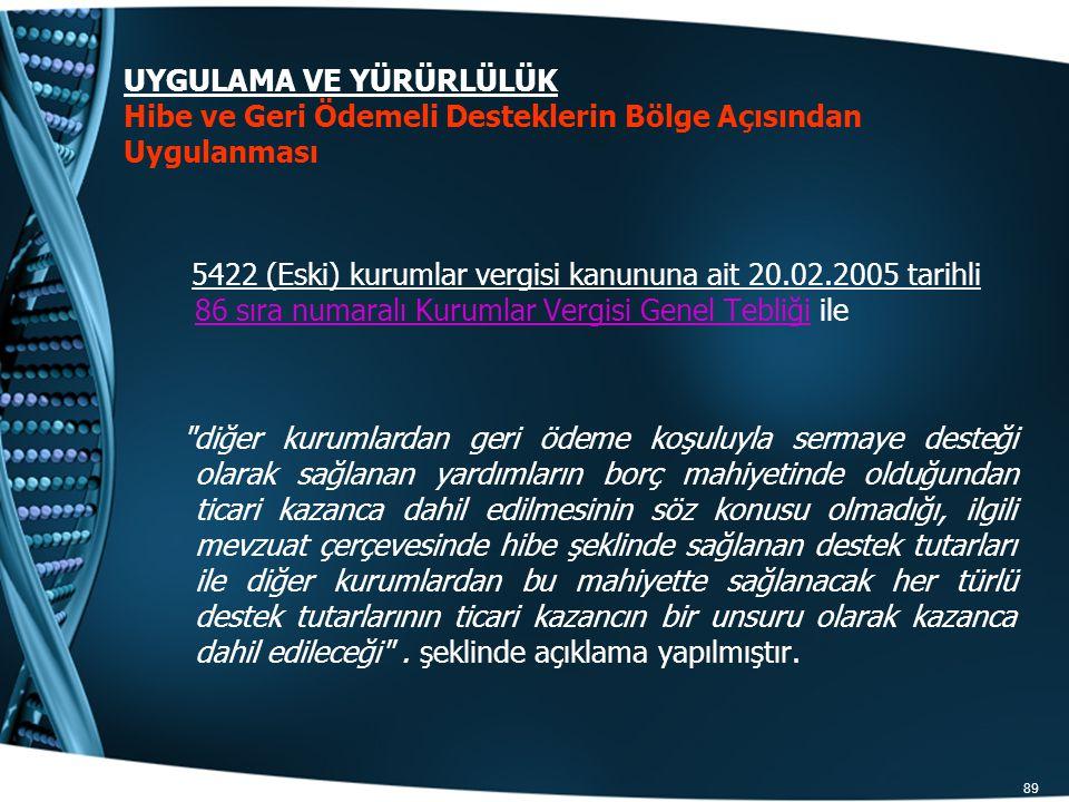 89 5422 (Eski) kurumlar vergisi kanununa ait 20.02.2005 tarihli 86 sıra numaralı Kurumlar Vergisi Genel Tebliği ile 86 sıra numaralı Kurumlar Vergisi
