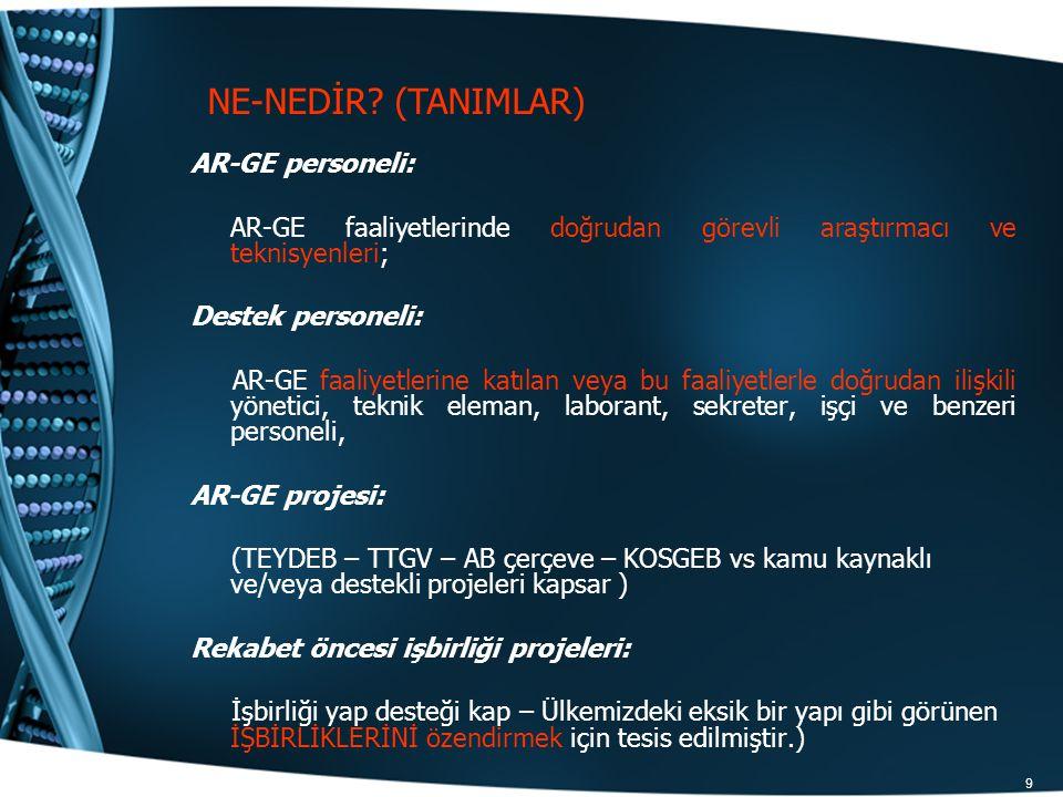 9 AR-GE personeli: AR-GE faaliyetlerinde doğrudan görevli araştırmacı ve teknisyenleri; Destek personeli: AR-GE faaliyetlerine katılan veya bu faaliye