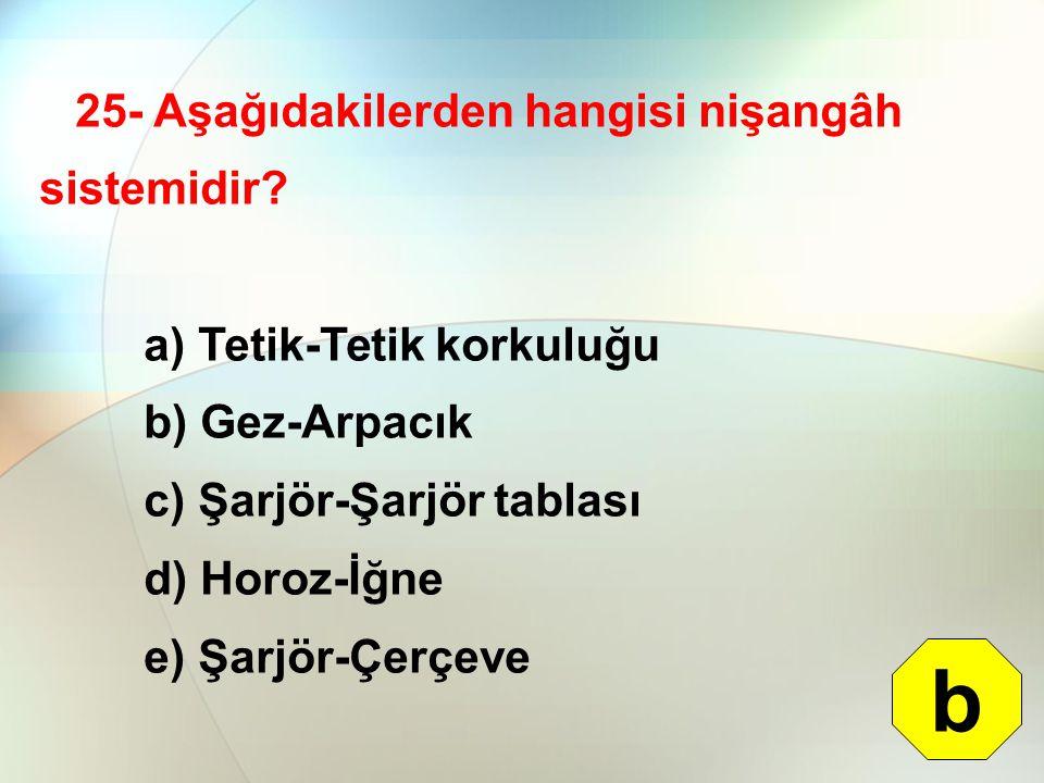 25- Aşağıdakilerden hangisi nişangâh sistemidir? a) Tetik-Tetik korkuluğu b) Gez-Arpacık c) Şarjör-Şarjör tablası d) Horoz-İğne e) Şarjör-Çerçeve b