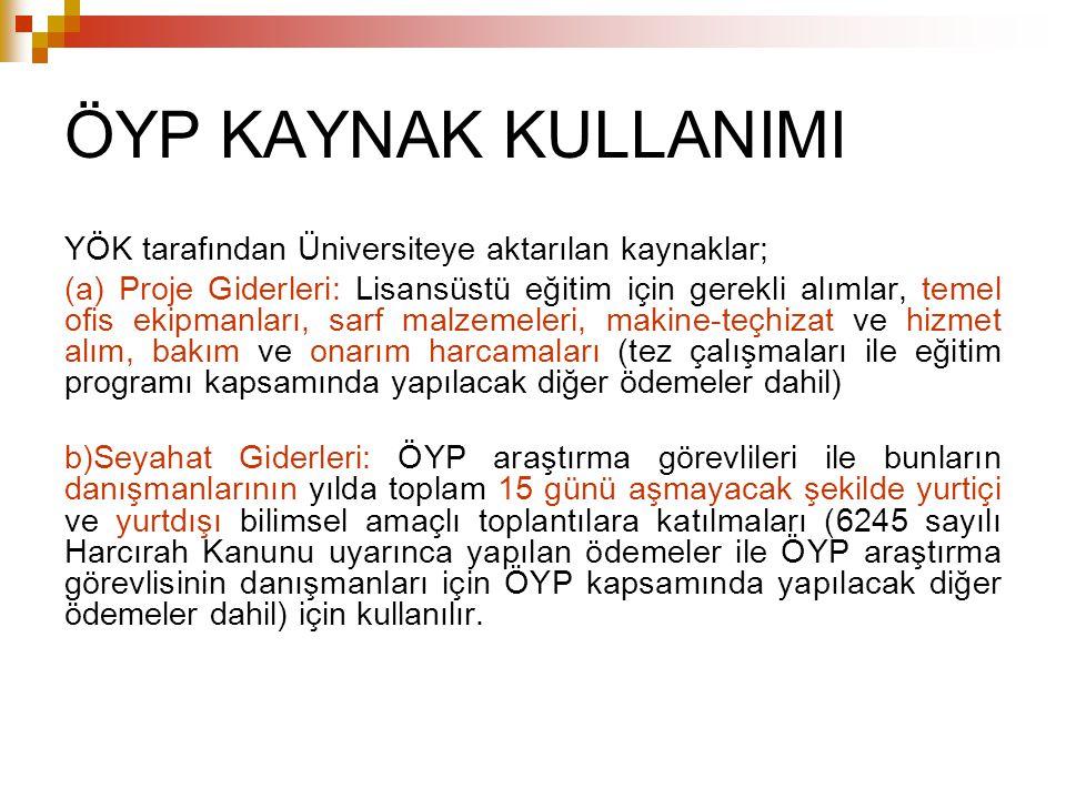 ÖYP KAYNAK KULLANIMI YÖK tarafından Üniversiteye aktarılan kaynaklar; (a) Proje Giderleri: Lisansüstü eğitim için gerekli alımlar, temel ofis ekipmanl